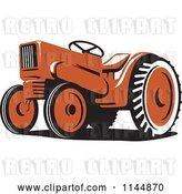 Vector Clip Art of Retro Orange Tractor 2 by Patrimonio