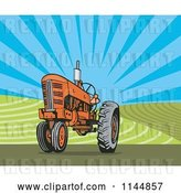 Vector Clip Art of Retro Orange Tractor in a Field 1 by Patrimonio