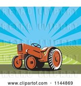 Vector Clip Art of Retro Orange Tractor in a Field 2 by Patrimonio