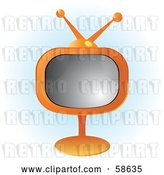 Vector Clip Art of Retro Orange Tv on a Stand by MilsiArt