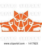 Vector Clip Art of Retro Orange Wolf Heads Facing Front and to the Sides by Patrimonio
