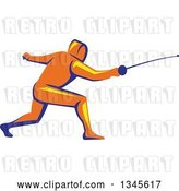 Vector Clip Art of Retro Orange Yellow and Blue Guy Fencing by Patrimonio