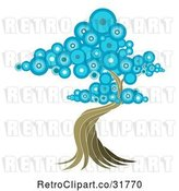 Vector Clip Art of Retro Oriental Tree with Blue Circle Foliage by AtStockIllustration