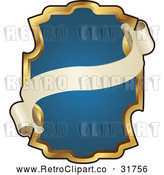 Vector Clip Art of Retro Ornate Blue and Gold Banner Frame with Copyspace by AtStockIllustration