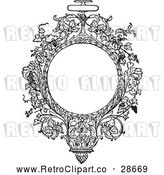 Vector Clip Art of Retro Ornate Circular Floral Vine Frame by Prawny Vintage