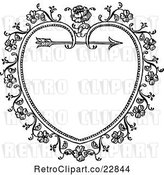 Vector Clip Art of Retro Ornate Floral Heart and Arrow Frame by Prawny Vintage
