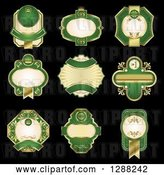 Vector Clip Art of Retro Ornate Gold and Green Blank Labels on Black by Vector Tradition SM