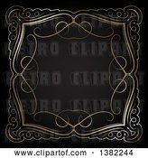 Vector Clip Art of Retro Ornate Gold Swirl Frame on Black by KJ Pargeter
