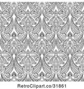 Vector Clip Art of Retro Ornate Gray Seamless Art Nouveau Pattern Background by AtStockIllustration
