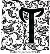 Vector Clip Art of Retro Ornate Letter T with Vines by Prawny Vintage