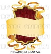 Vector Clip Art of Retro Ornate Red Shield and Gold Banner Frame with Copyspace by AtStockIllustration