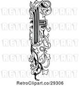 Vector Clip Art of Retro Ornate Vertical Alphabet Letter Floral F by Prawny Vintage