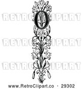 Vector Clip Art of Retro Ornate Vertical Alphabet Letter Floral O by Prawny Vintage
