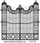 Vector Clip Art of Retro Ornate Wrought Iron Gate by Frisko