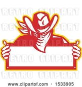 Vector Clip Art of Retro Outlaw Wearing a Bandana over His Face and Holding a Blank Sign by Patrimonio