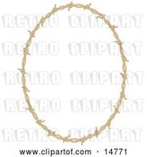 Vector Clip Art of Retro Oval Border Frame of Barbed Wire over a White Background by Andy Nortnik
