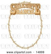 Vector Clip Art of Retro Oval Frame Made of Barbed Wire on a Snakebite Ranch Sign by Andy Nortnik