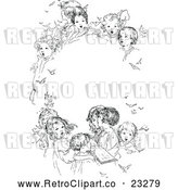 Vector Clip Art of Retro Oval Frame of Singing Children by Prawny Vintage