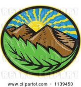 Vector Clip Art of Retro Oval of the Sun Mountains and Leaf by Patrimonio