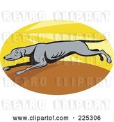 Vector Clip Art of Retro Oval Running Greyhound Logo by Patrimonio