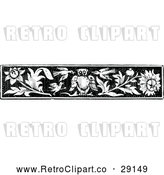 Vector Clip Art of Retro Owl Bird and Flower Border by Prawny Vintage