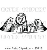 May 4th, 2018: Vector Clip Art of Retro Owl Family in a Circle by Prawny Vintage