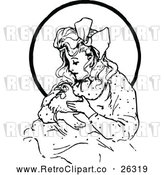 Vector Clip Art of Retro Oz Girl with a Hen by Prawny Vintage