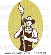 Vector Clip Art of Retro Painter Artist on Rays Logo by Patrimonio