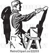 Vector Clip Art of Retro Painter Painting a Wall by BestVector
