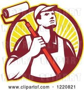 Vector Clip Art of Retro Painter Worker with a Roller Brush in a Circle of Sunshine by Patrimonio