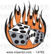 Vector Clip Art of Retro Pair of Dice Rolling over Flames at a Casino by Andy Nortnik