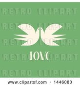 Vector Clip Art of Retro Pair of Flying Cranes with Love Text on Green by Elena