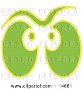 Vector Clip Art of Retro Pair of Green and Yellow Ghost Eyes Glowing Clipart Illustration by Andy Nortnik