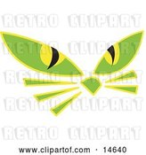 Vector Clip Art of Retro Pair of Green Cat Eyes and Whiskers Glowing in the Dark by Andy Nortnik