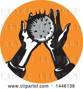 Vector Clip Art of Retro Pair of Hands Holding a Spiked Ball in an Orange Circle by Patrimonio