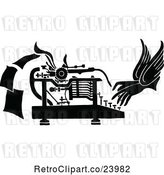 Vector Clip Art of Retro Pair of Hands Working a Typewriter by Prawny Vintage