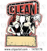 Vector Clip Art of Retro Pair of Maids with a Mop and Duster in a Clean Design by Patrimonio