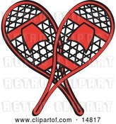 Vector Clip Art of Retro Pair of Red Snowshoes Crossed by Andy Nortnik