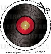 Vector Clip Art of Retro Pair of Scissors Cutting on a Dotted Line Around a Vinyl Record by Michaeltravers