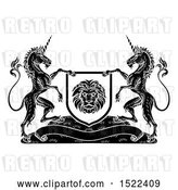 Vector Clip Art of Retro Pair of Unicorns Flanking a Lion Shield over a Banner, by AtStockIllustration