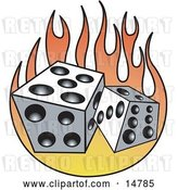 Vector Clip Art of Retro Pair of White and Black Dice and Flames by Andy Nortnik