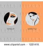 Vector Clip Art of Retro Panels of Women with Makeup and Hairstyle Text by Elena