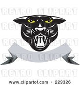 Vector Clip Art of Retro Panther Head over a Blank Banner by Patrimonio