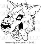 Vector Clip Art of Retro Panting Werewolf Head with Fangs, Hanging Its Tongue out by Lawrence Christmas Illustration