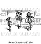 Vector Clip Art of Retro Paper Boy and Men by Prawny Vintage