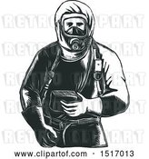 Vector Clip Art of Retro Paramedic in a Hazmat Suit, in Woodcut by Patrimonio