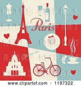 Vector Clip Art of Retro Paris Themed Collage with Text and Items by Eugene