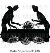 Vector Clip Art of Retro Party Ladies at a Table by Prawny Vintage