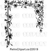 Vector Clip Art of Retro Passion Flower Frame by Prawny Vintage