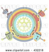 Vector Clip Art of Retro Pastel Circle of Robots Around a Gear by Mheld